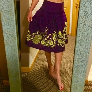 Anthropologie Odille Purple Embroidered Skirt 0